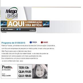 Fundadora da ToddaiCOM concede entrevista na Rádio Mega Brasil