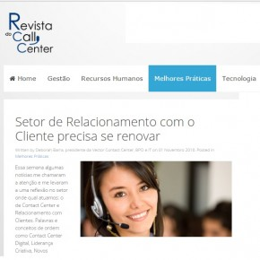 Revista do Call Center: Setor de Relacionamento com o Cliente precisa se renovar