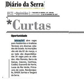 Diário da Serra do Mato Grosso noticia Processo Seletivo do Sebrae
